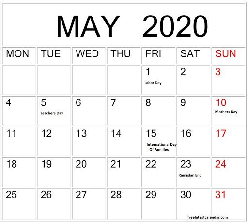 May 2020 Calendar With Holidays Printable Notes Template Blank In