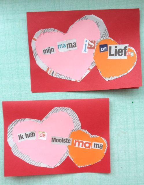 Moederdag kaart vaderdag en moederdag knutselen pinterest knutselen en brieven - Resource com verven ...
