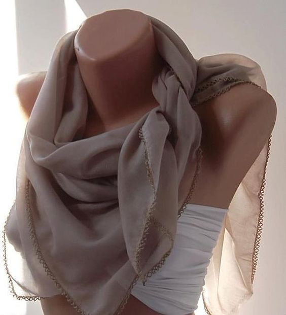 Sand Color Shawl with Lace  Turkish Shawl  Anatolians by womann, $15.90