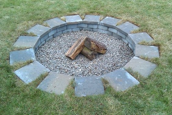 Cheap fire pit one afternoon and 28 in supplies from for Make a fire pit cheap
