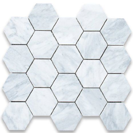 Amazon.com: Carrara White Italian Carrera Marble Hexagon Mosaic Tile 3 inch Honed: Home Improvement