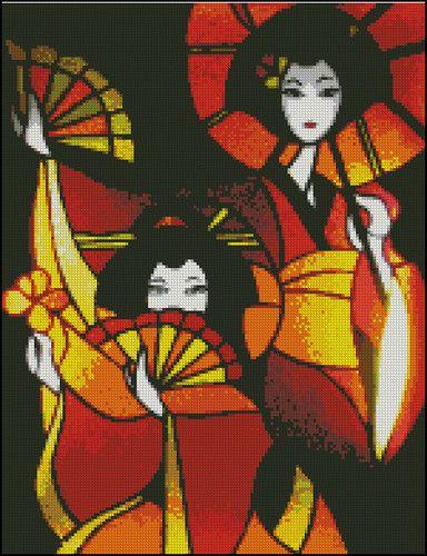 2 japanese geisha