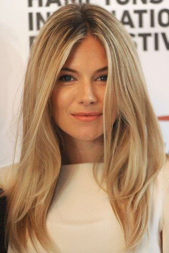 "Sienna Miller looking ravishing. This pale buttery blonde is perfect with or without the roots showing. Creates that ""blondes have more fun"" look."