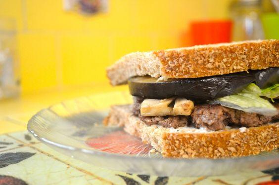 Eggplant Mushroom Parmesan Burger on Whole Wheat