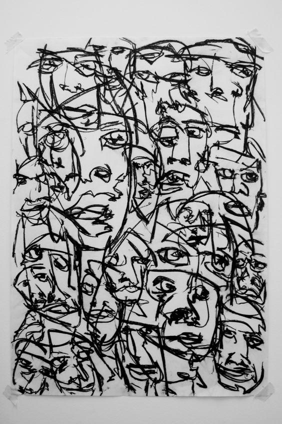 Sea of faces III  Charcoal on paper  Joe Howlett original artwork 2011