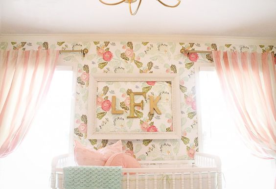 Framed monogram over the crib - LOVE! #nursery #wallpaper