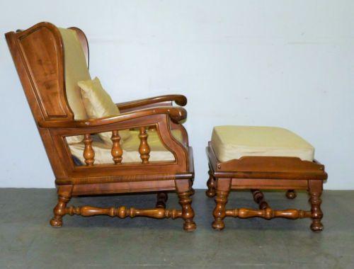 Vintage Ethan Allen Maple Spindle Wing Back Lounge Arm
