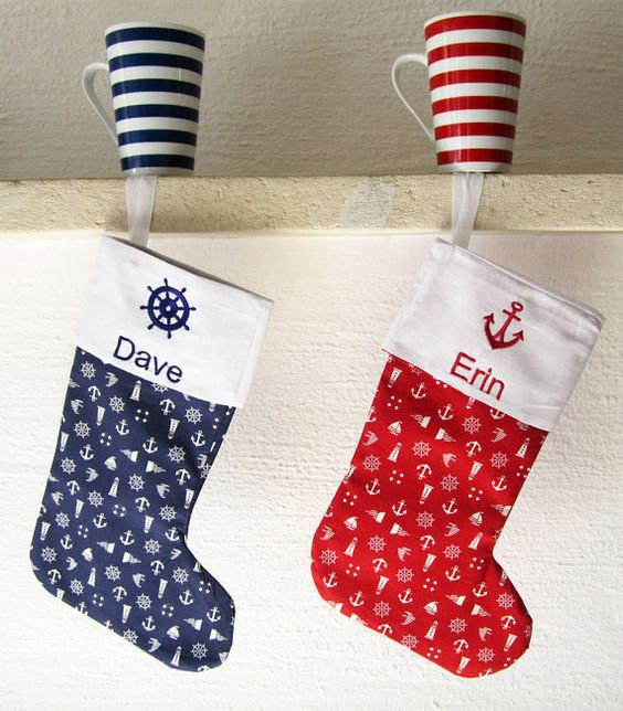 Personal Embroidered Nautical Christmas Stocking by BoutiqueDaf
