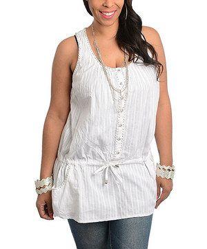 Loving this White Button-Up Tie-Waist Tank - Plus on #zulily! #zulilyfinds