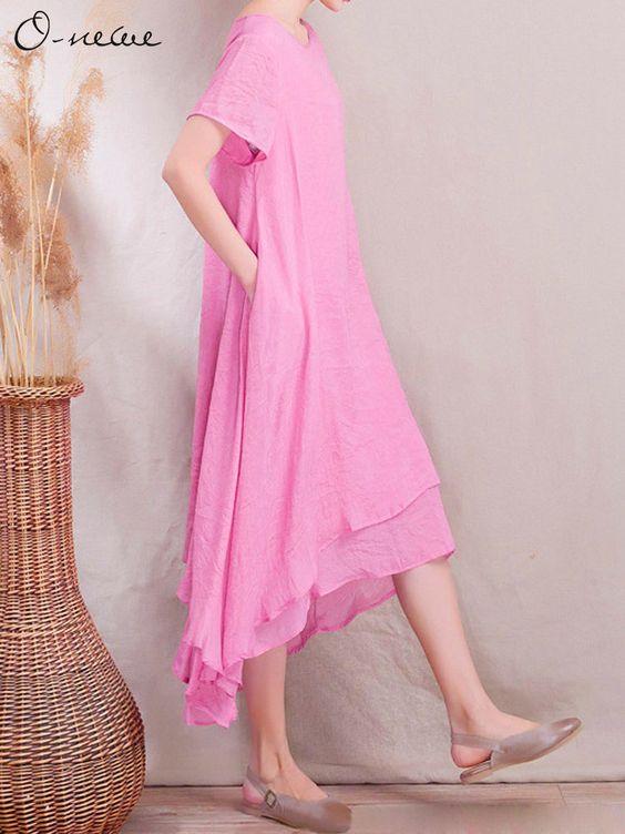 O-Newe Elegant Women Ethnic Style Fake Two-piece Solid Maxi Dress
