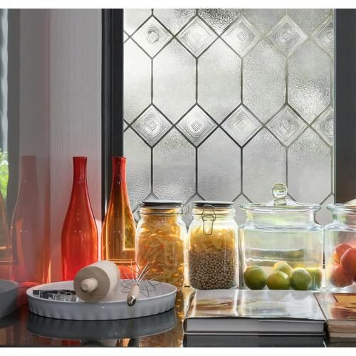 24 In W X 36 In L Textured Stained Glass Privacy Decorative Static Cling Window Film Decorative Window Film