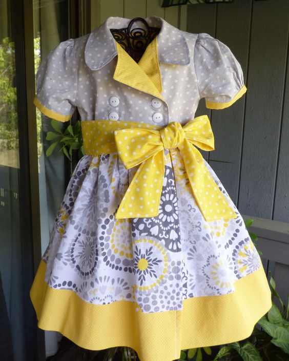 Yellow and gray retro wrap dress for little girls by EmelineDesign on Etsy