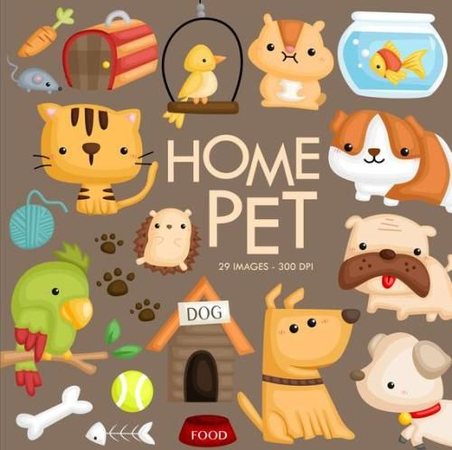 Buy Now Home Pet Animal Clipart Dog And Cat Clip Art Cute In 2020 Animal Clipart Cute Animal Clipart Pet Store Ideas