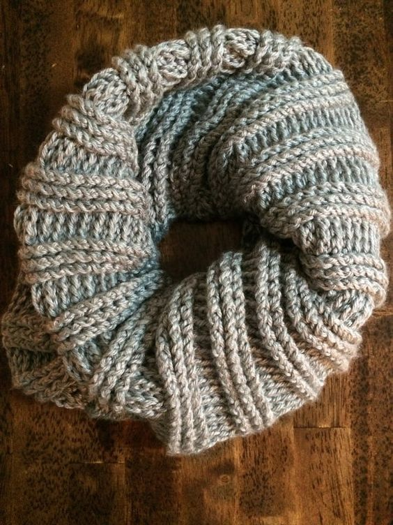 Heather grey ribbed infinity scarf by WinksStrings on Etsy