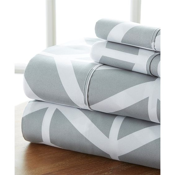 iEnjoy Bedding Gray Chevron Becky Cameron™ Premium Sheet Set ($22) ❤ liked on Polyvore featuring home, bed & bath, bedding, bed sheets, gray bedding, grey pillowcases, twin flat sheets, gray sheet set and gray twin bedding