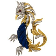 Marchak Lapis Lazuli Ruby Diamond Gold Platinum  Firebird Pin Brooch: