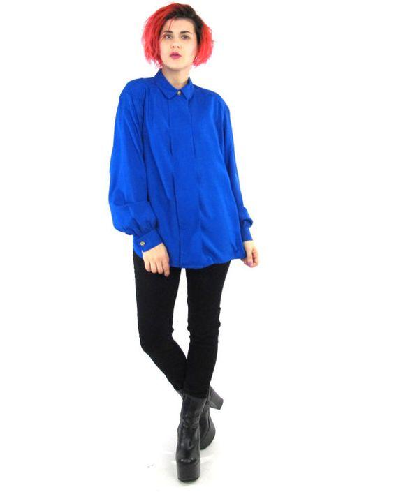 80s Blue Silk Shirt Cobalt Blue Blouse Long by honeymoonmuse