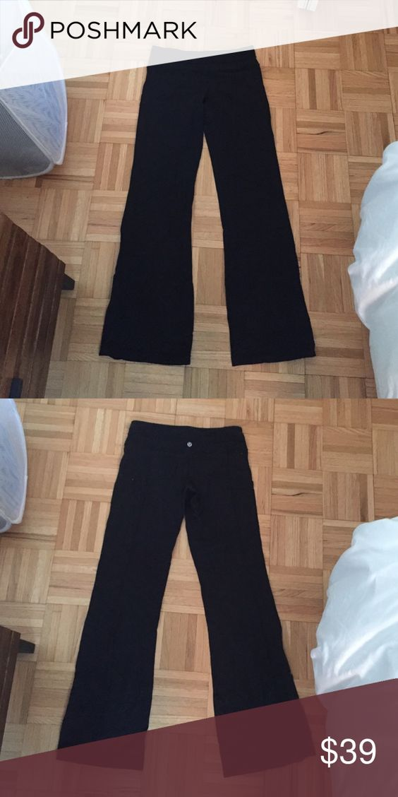 Lululemon size 6 black flare stretch pants Lululemon size 6 black flare stretch pants. SO COMFY!! Used but still in good condition, some piling but lots of life left in them. lululemon athletica Pants Boot Cut & Flare