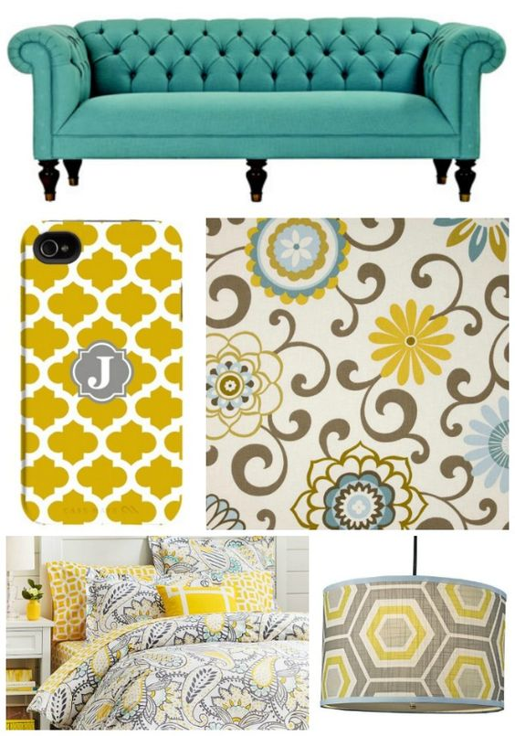 Turquoise Yellow Grey Home Decor