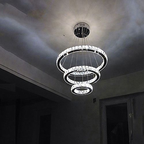 1 Light 40 Cm Crystal Led Chandelier Metal Circle Electroplated