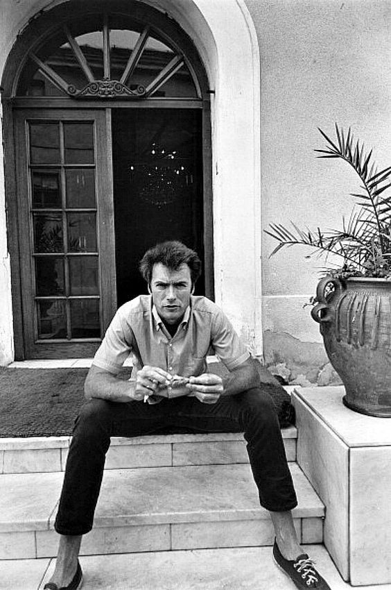 Clint Eastwood eating some chicken in Durango, Mexico while taking a break from filming Two Mules for Sister Sara, 1969.