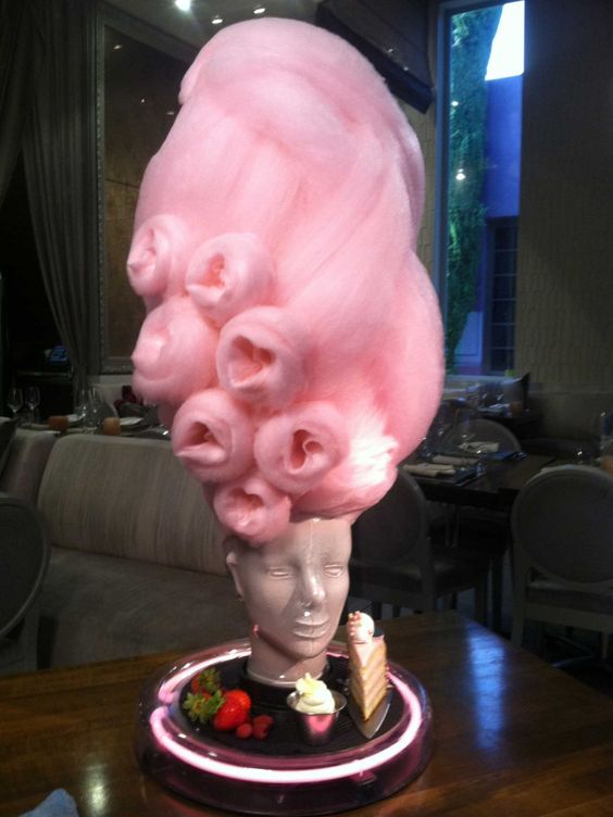 Marie Antoinette cotton candy head dessert at Barton G the ...