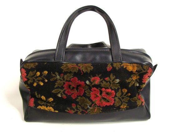 $47.77 vintage 60s Black Floral Tapestry Carpet Bag Zipper Purse Handbag Mary Poppins Dr Bag by wardrobetheglobe on Etsy