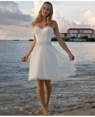 A-line Cocktail Length Destination Wedding Dress #Destination #Beach #Wedding #Dress