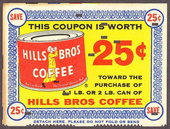 Hills Bros Coffee coupon from 1963