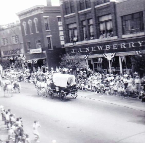 1973 parade on Wheeling Avenue. Oh my gosh - I was there. 8 years old. We had Little House on the Prairie bonnets & dresses & Daddy grew a beard. I still have those bonnets & dresses for kids costumes.