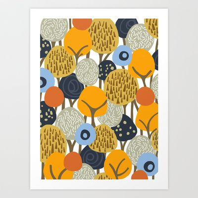 forest in autumn Art Print by frameless - $15.00