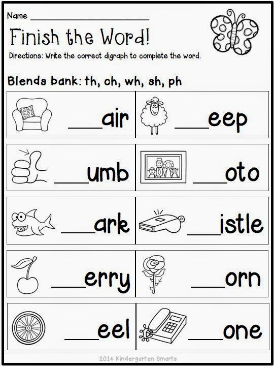 Kindergarten Smarts Spring Math and Literacy Centers plus a - phonics worksheet