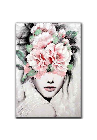 Cuadro Vertical Con Imagen De Rostro De Mujer Con Flores En El Pelo Con Estilo Moderno Pintado A Mano Sobre Lienzo Cuadros En Lienzo Cuadros Modernos Pinturas