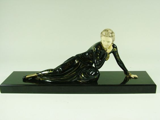 French Art Deco Reclining Maiden by Menneville c1925 | eBay