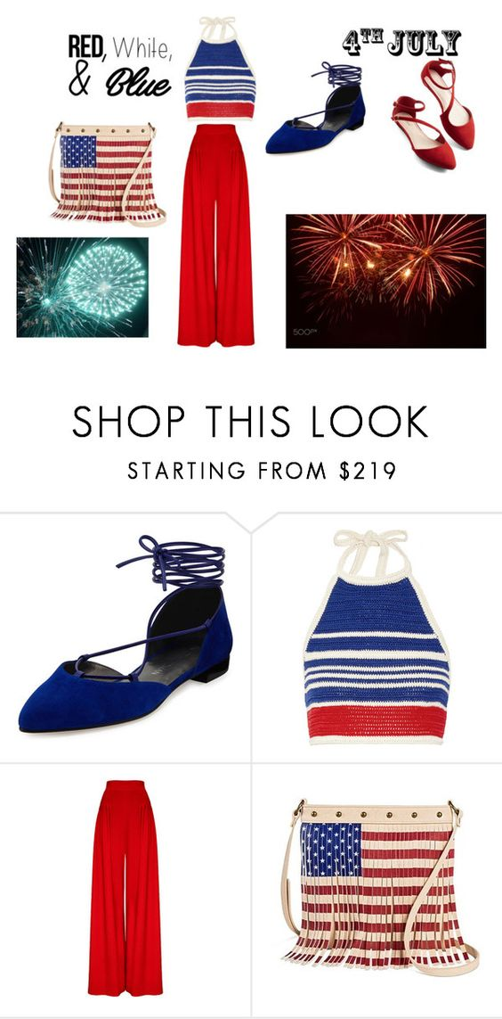 """july4th"" by epa1412 on Polyvore featuring Stuart Weitzman, Vika Gazinskaya, redwhiteandblue and july4th"