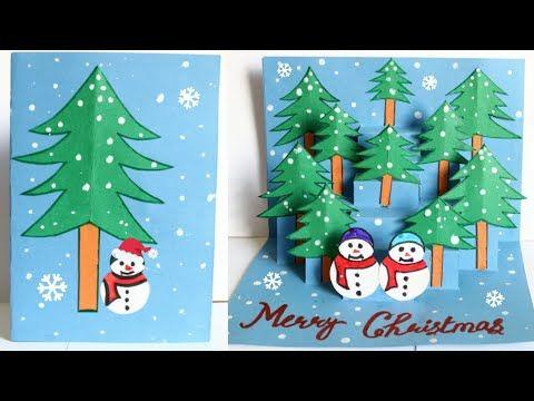 Diy 3d Christmas Pop Up Card How To Make Christmas Greeting Card Easy Christmas Pop Up Diy Christmas Cards Pop Up Pop Up Christmas Cards Diy Christmas Cards