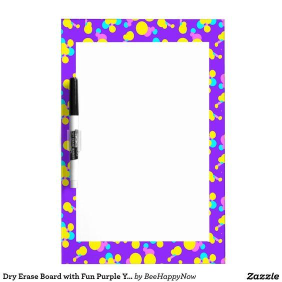 Dry Erase Board with Fun Purple Yellow Borders