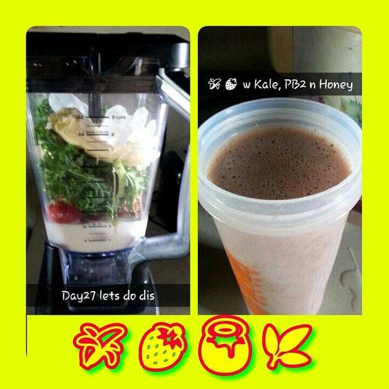 Day 27 Transform 30 Juice Plus Complete Dutch Chocolate with Banana, Kale, Honey, Vanilla Almond milk, Strawberries & PB2 Powder.