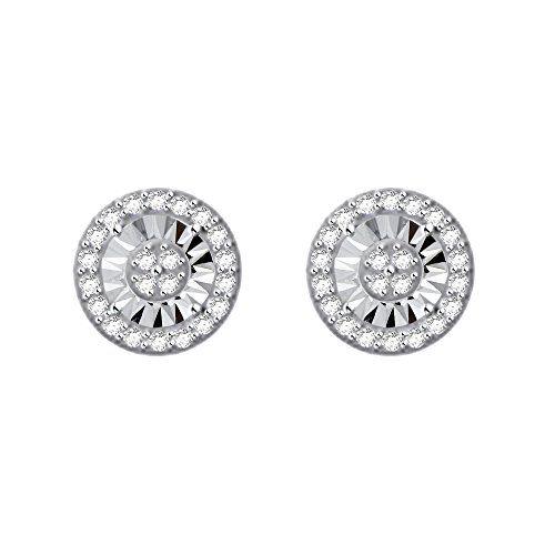 Genuine Diamond Earrings In Solid 925 Sterling Silver