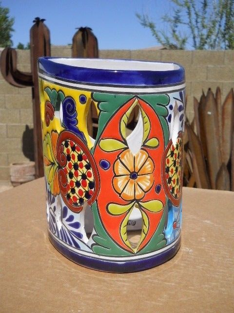 Talavera Sconce Light Fixture Cover Mexican Clay Folk Art Pottery