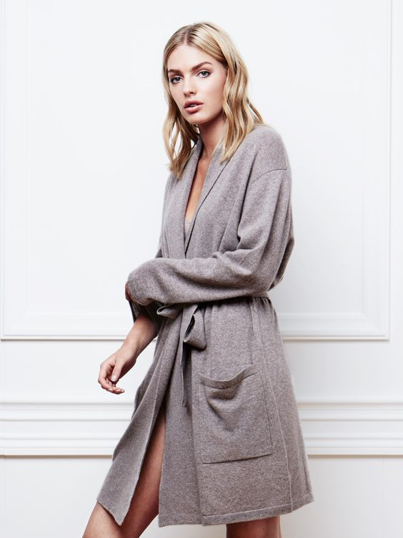 Women's bathrobe in Taupe from Soft Goat AW16 Collection