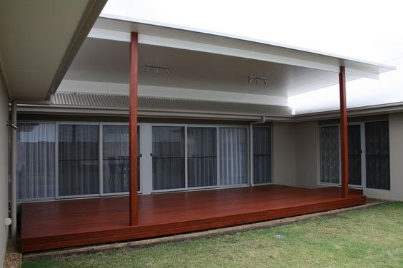Timber deck flyover insulated patio roof brisbane for Skillion roof definition