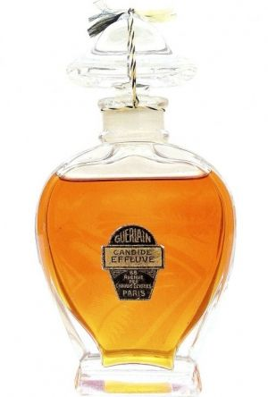 Candide Effluve perfume is the work of Jacques Guerlain from 1922. The perfume was re - launched as an exclusive and limited edition in 2007. The composition is oriental - floral with a heady vanilla base. It includes notes of bergamot, lemon, ylang-ylang, lilac, jasmine, orris root, angelica, patchouli, vetiver, benzoin, tonka bean, heliotrope, amber and vanilla.