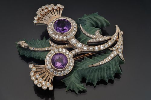 """Brooch of gold with diamonds, amethysts and jasper. Beautiful jewelry by St. Petersburg true style """"Catherine Kostrigina"""":"""
