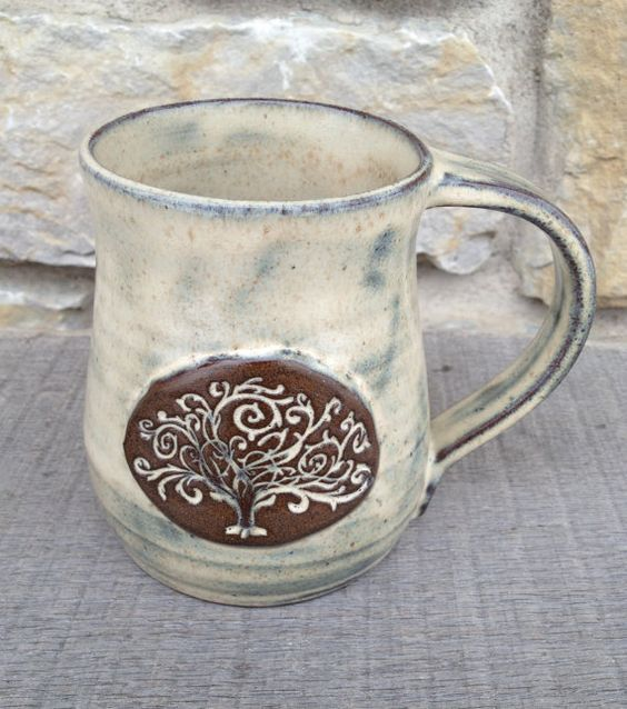 Tree of Life wheel thrown pottery, stoneware mug