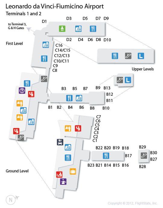 FCO Leonardo Da VinciFiumicino Airport Terminal Map Airports - Italy airports map