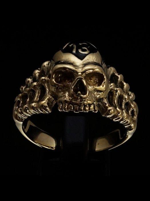 Sterling silver Skull ring Pirate Skull on Crossed Bones Jolly Roger with black enamel high polished Sterling silver 925