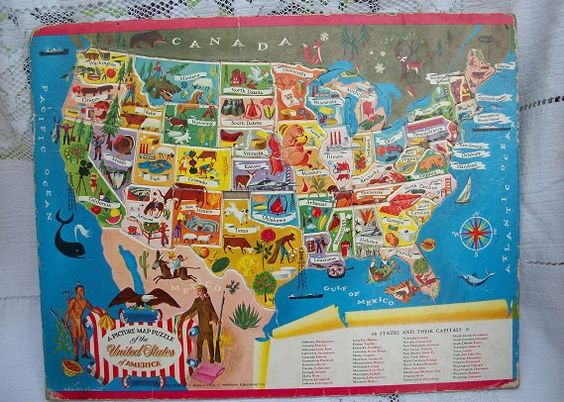 Love this Vintage Whitman Publishing Charles Clement Map Puzzle 48 States and Their Capitals USA