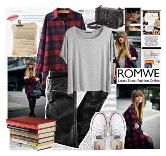 """Plaid Loose Blouse"" by iwy-croatia ❤ liked on Polyvore featuring Unis, H&M, Rebecca Minkoff, Chicnova Fashion, Umbra and Converse"