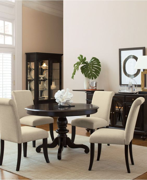 Bradford Dining Room Furniture, 7 Piece Dining Set (Round Table and 6 Upholstered Chairs) - furniture - Macy's